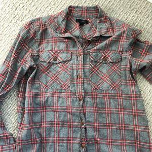 JCrew Gray & Black Plaid Button Down Flannel